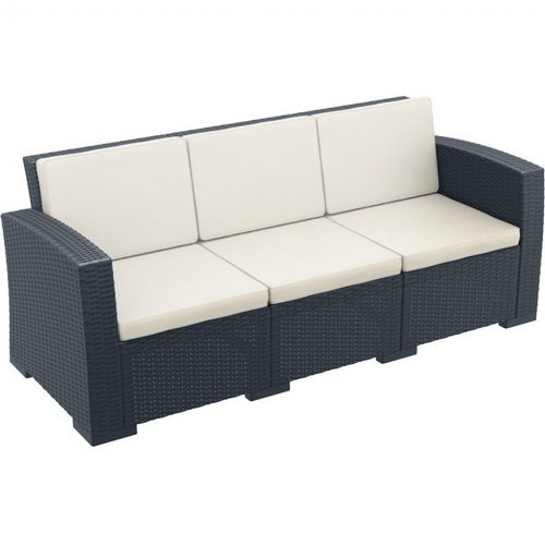 Monaco Wickerlook Resin Patio Sofa XL Dark Gray with Cushion ISP833-DG