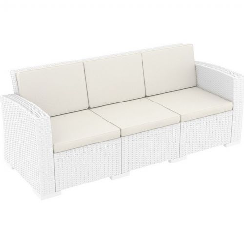 Monaco Wickerlook Resin Patio Sofa XL White with Cushion ISP833-WH
