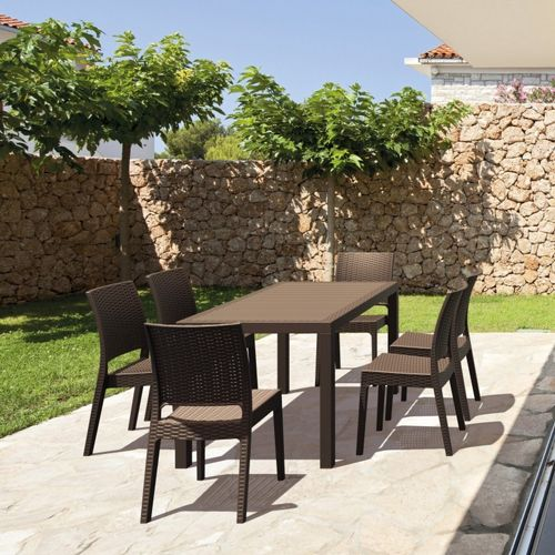 Outdoor Furniture Orlando: Orlando Wickerlook Patio Dining Set 7 Piece Brown ISP8781S