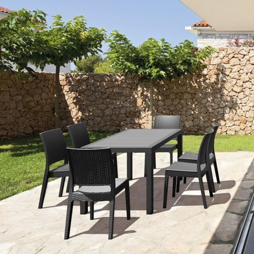 Orlando Wickerlook Patio Dining Set 7 Piece Dark Gray ISP8781S-DG