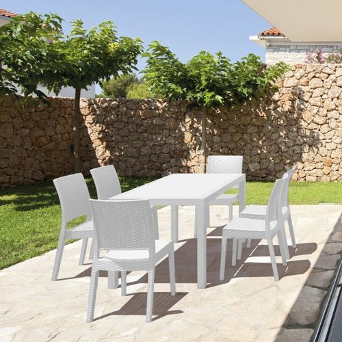 Outdoor Furniture Orlando: Orlando Wickerlook Patio Dining Set 7 Piece White ISP8781S