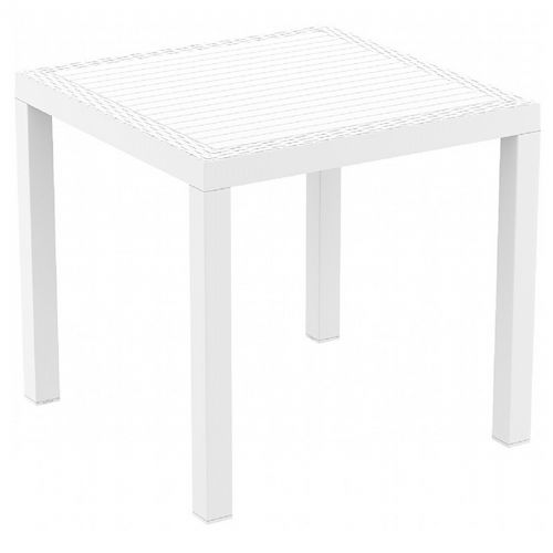 Orlando Wickerlook Resin Square Patio Dining Table White 31 inch. ISP875-WH