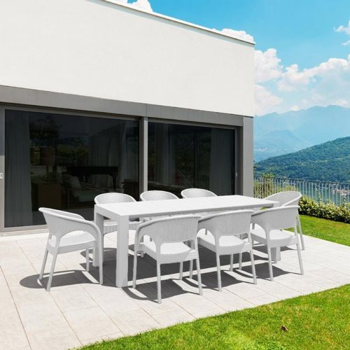 Panama Extendable Patio Dining Set 9 piece White ISP8083S-WH