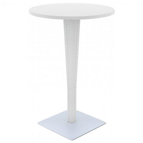 Riva Wickerlook Resin Round Bar Table White 28 inch. ISP886-WH