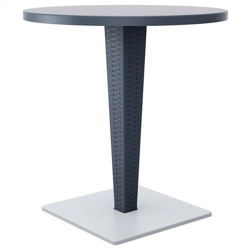 Riva Wickerlook Resin Round Patio Dining Table Gray 28 inch. ISP882-DG