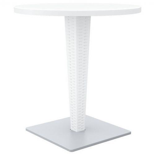 Riva Wickerlook Resin Round Patio Dining Table White 28 inch. ISP882-WH