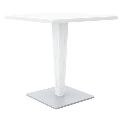 Riva Wickerlook Resin Square Patio Dining Table White 28 inch. ISP884-WH