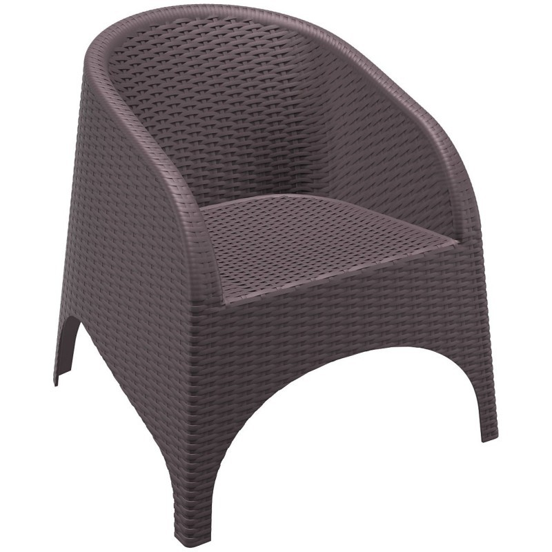 Outdoor Furniture: Resin: Aruba Wickerlook Resin Patio Chair Brown