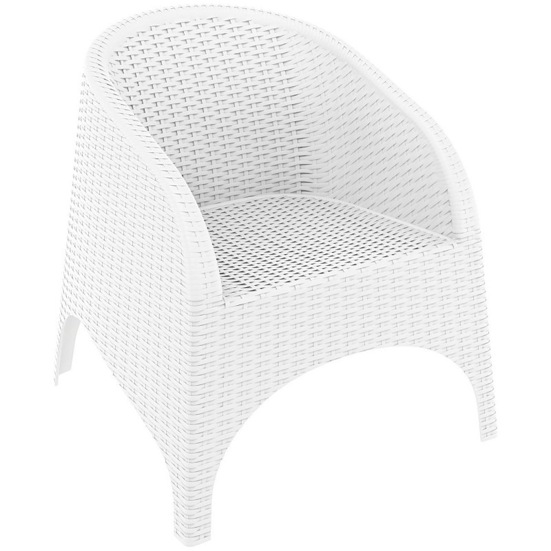 Aruba Wickerlook Resin Patio Chair White : Dining Chairs