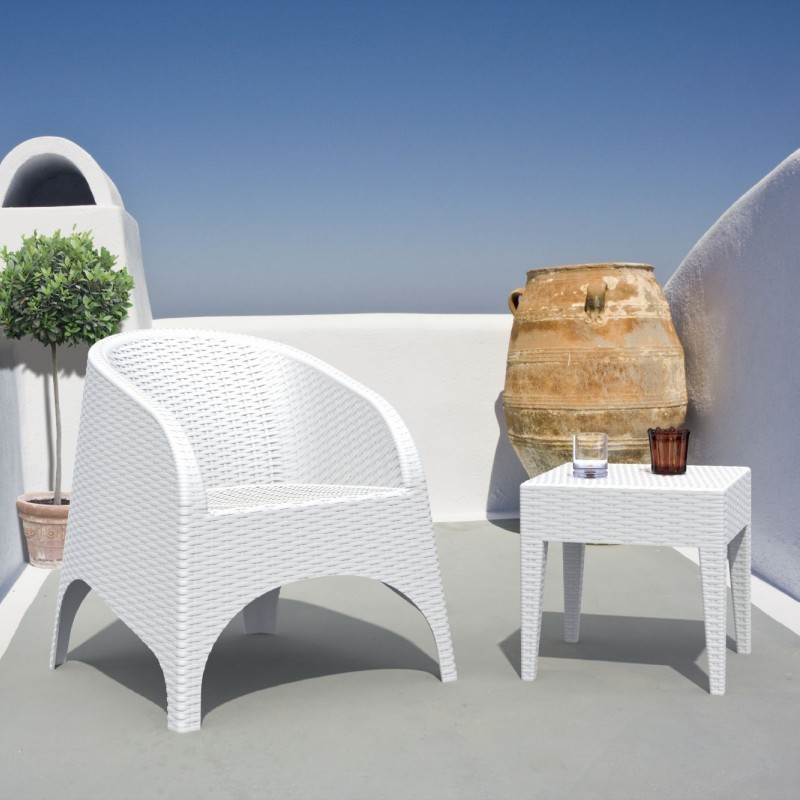 Outdoor Furniture: Resin: Aruba Wickerlook Resin Balcony Furniture Set 3 Piece White