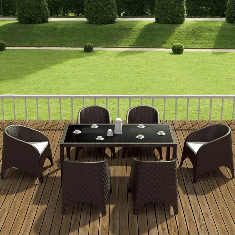Outdoor Furniture: Resin: Aruba Wickerlook Resin Patio Dining Set 7 Piece Rectangle Brown