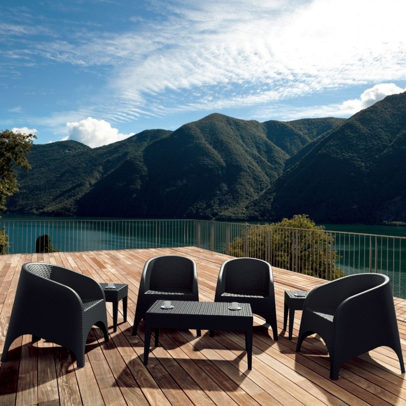 Outdoor Furniture: Resin: Aruba Wickerlook Resin Patio Set 7 Piece Brown