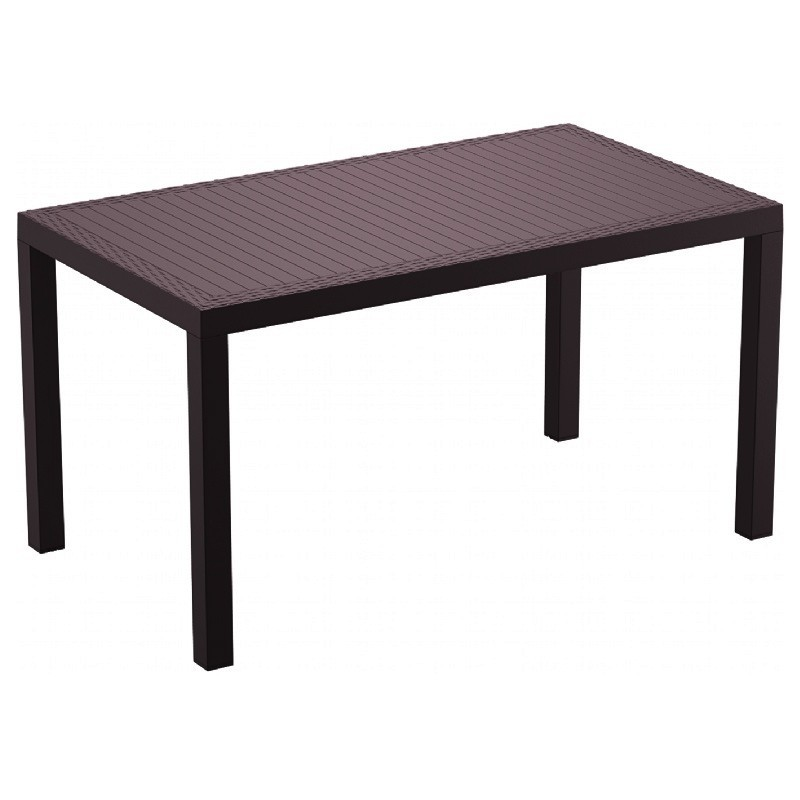 Orlando Wickerlook Resin Rectangle Patio Dining Table Brown 55 Inch