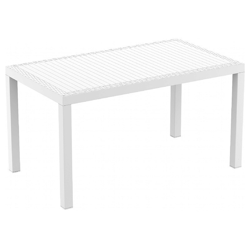 Orlando Wickerlook Resin Rectangle Patio Dining Table White 55 Inch