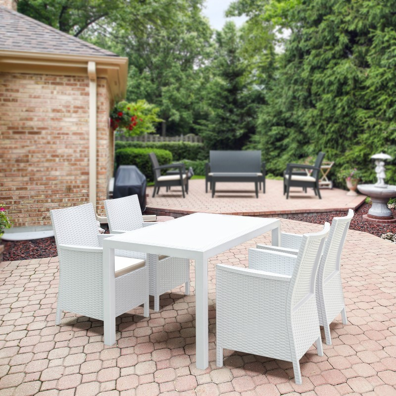 California Wickerlook Resin 55 inch Patio Dining Set 5 Piece White