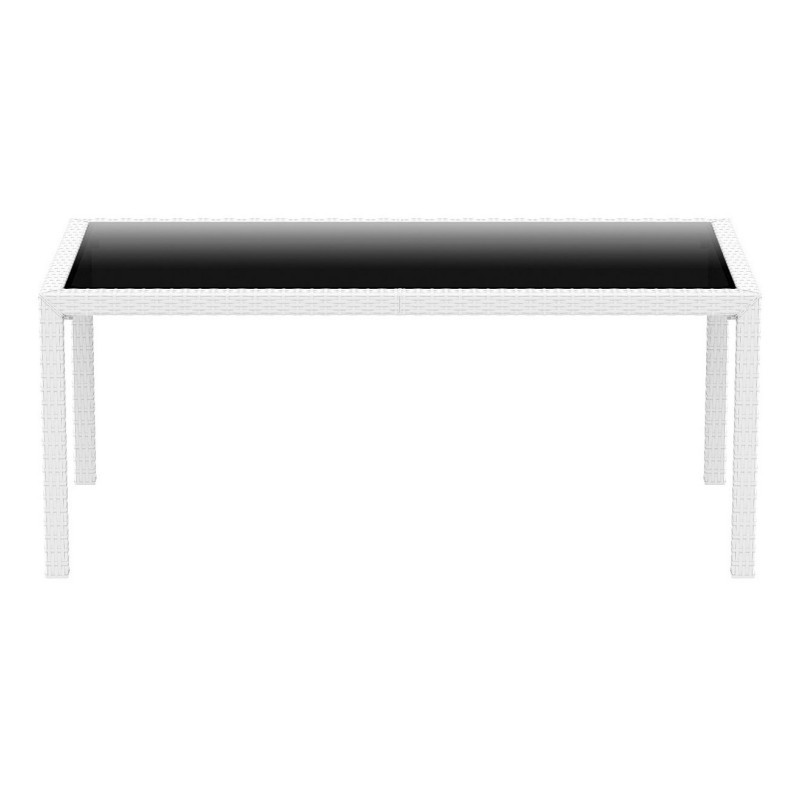 Miami Wickerlook Resin Rectangle Patio Dining Table White 71 inch. : Plastic Outdoor Tables