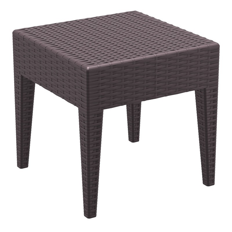 Wickerlook Miami Plastic Square Side Table Brown 18 inch.
