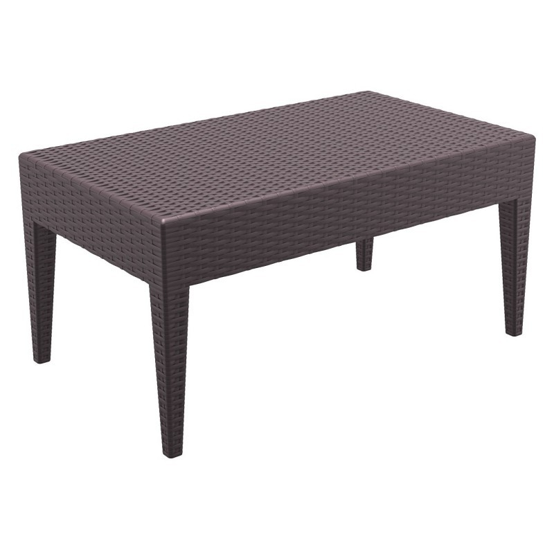 Miami Wickerlook Resin Patio Coffee Table Brown 36 inch. : Plastic Outdoor Tables
