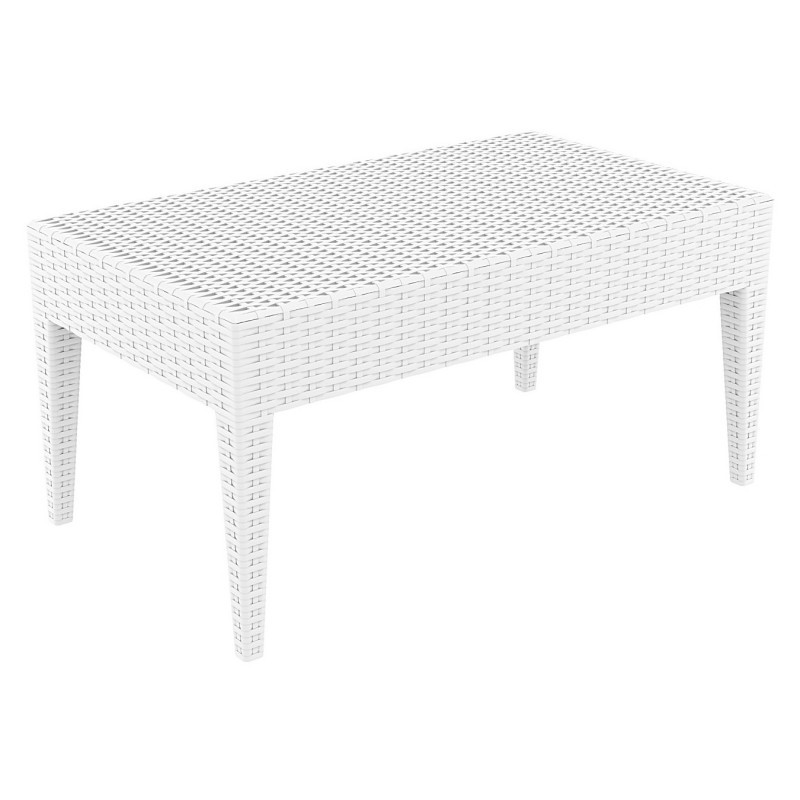 Miami Wickerlook Resin Patio Coffee Table White 36 inch. : Plastic Outdoor Tables