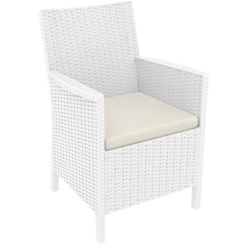 California Wickerlook Resin Patio Chair White