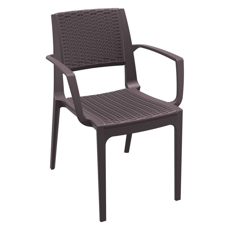 Capri Wicker-Look Resin Arm Chair Brown