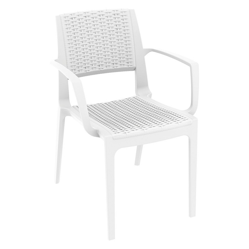 Capri Wicker Look Resin Arm Chair White