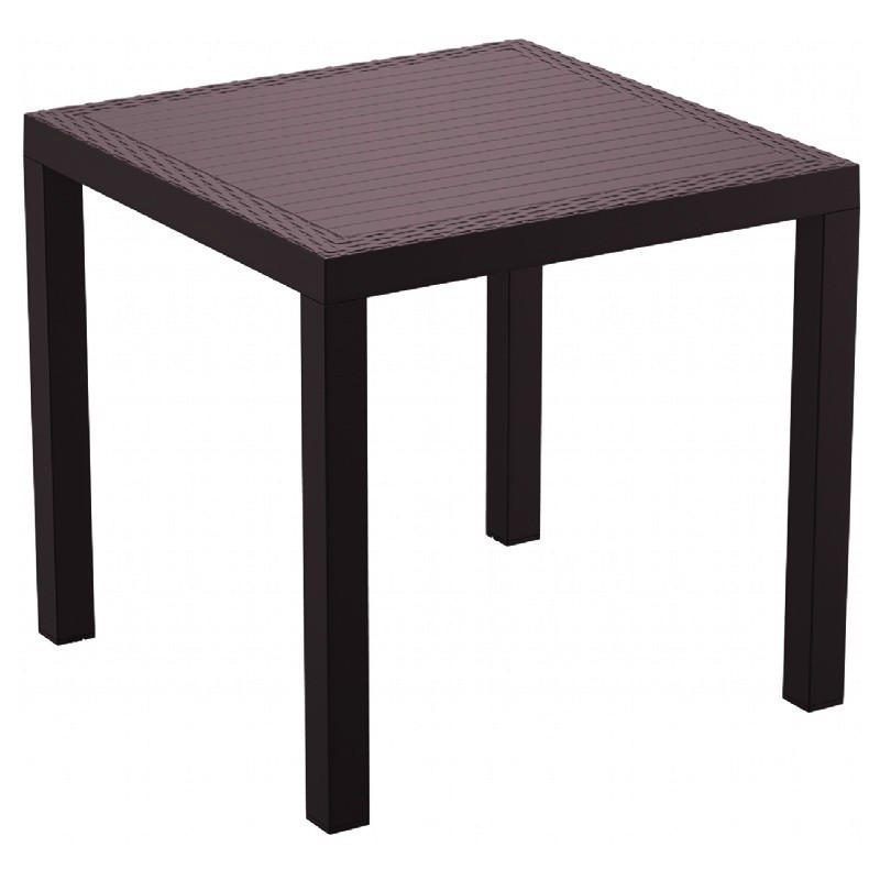 Orlando Wickerlook Resin Square Patio Dining Table Brown 31 inch.