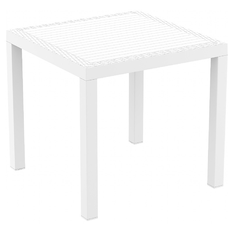 Orlando Wickerlook Resin Square Patio Dining Table White 31 inch.