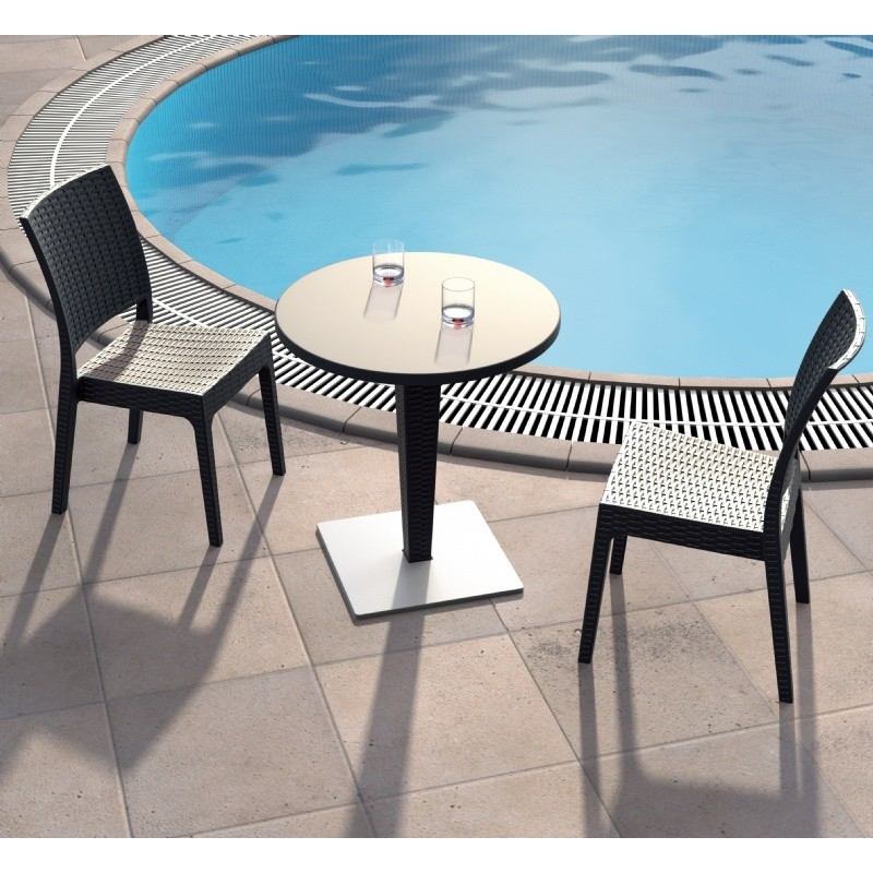 Outdoor Furniture: WickerLook: Miami Beach Collection: Florida Wickerlook Outdoor Resin Bistro Set Brown with Round Table 28 inch