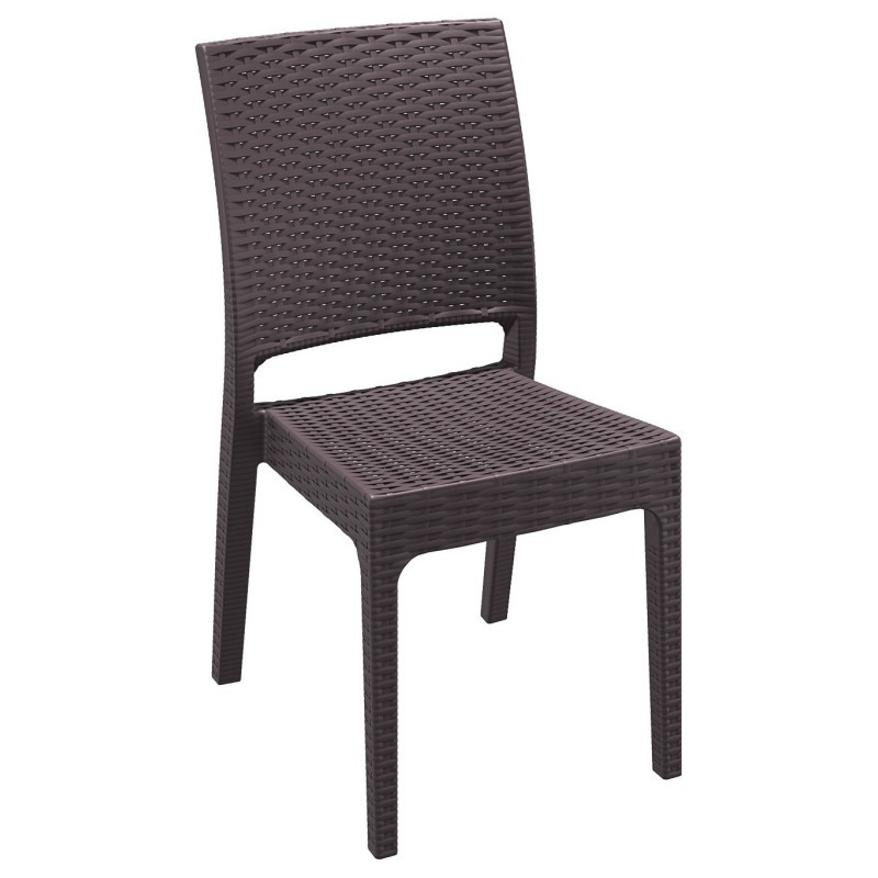 Florida Wickerlook Resin Patio Dining Chair Brown : Dining Chairs