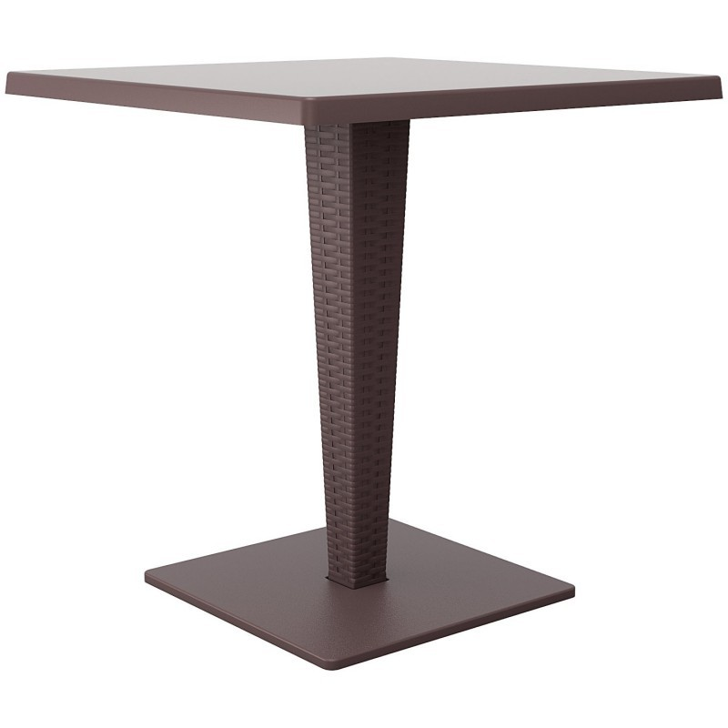 Riva Wickerlook Resin Square Patio Dining Table Brown 28 Inch