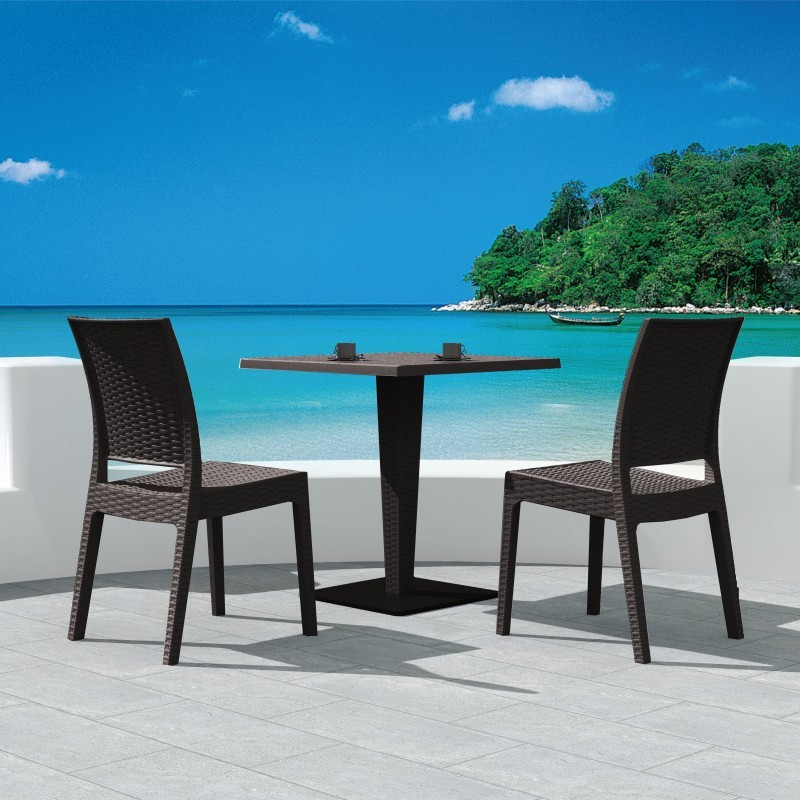Outdoor Furniture: WickerLook: Florida Wickerlook Outdoor Resin Bistro Set White with Square Table 28 inch