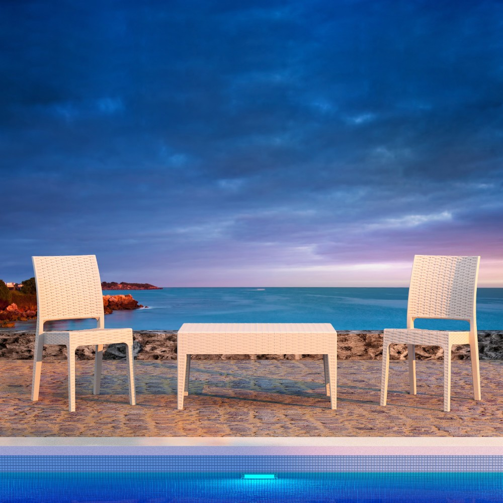 Outdoor Furniture: Bistro Sets: Florida Wickerlook Resin Balcony Set 3 Piece White