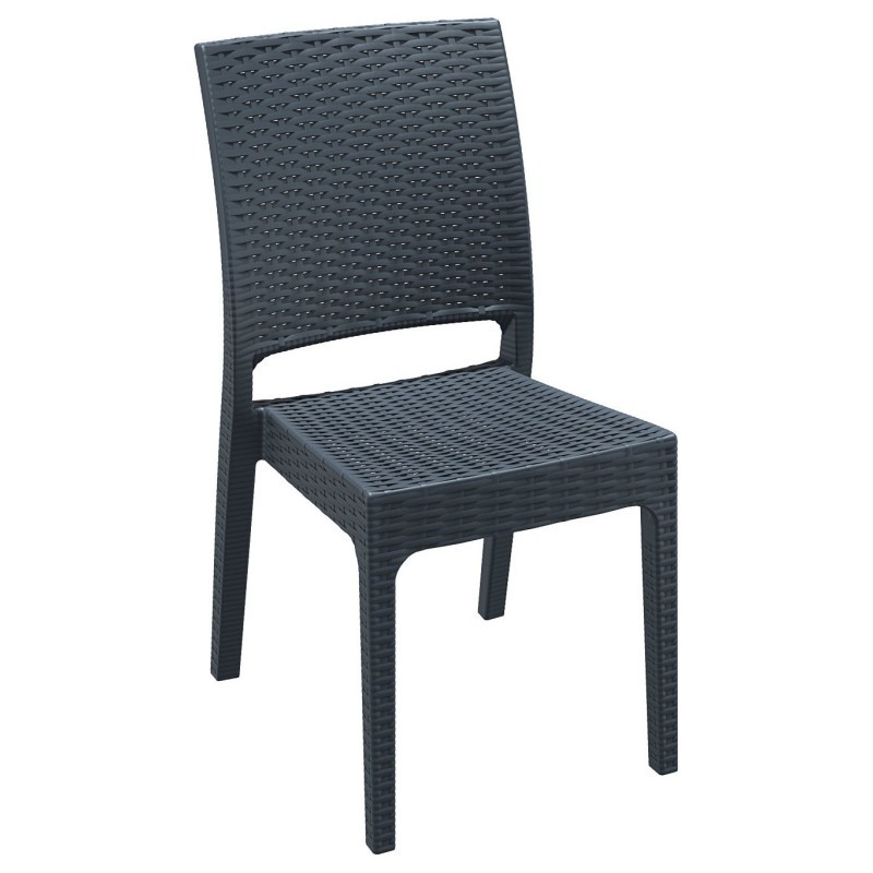 Florida Wickerlook Resin Patio Dining Chair Dark Gray