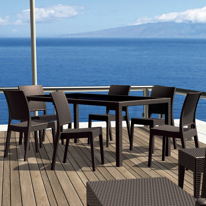 Florida Resin Patio Dining Set 7 Piece Rectangle Brown