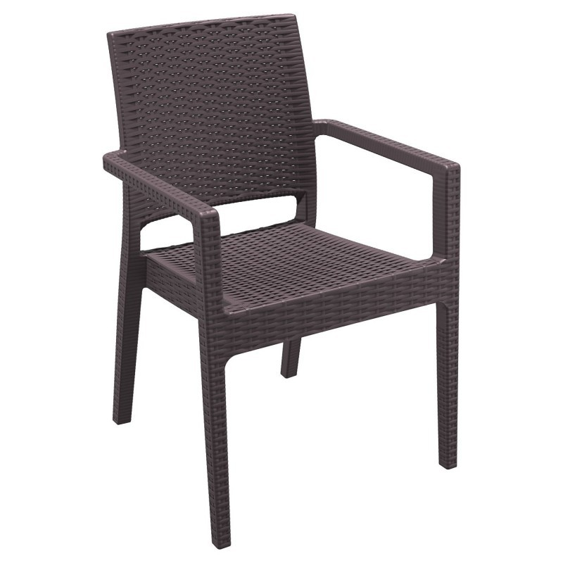 Ibiza Wicker-Look Resin Arm Chair Brown