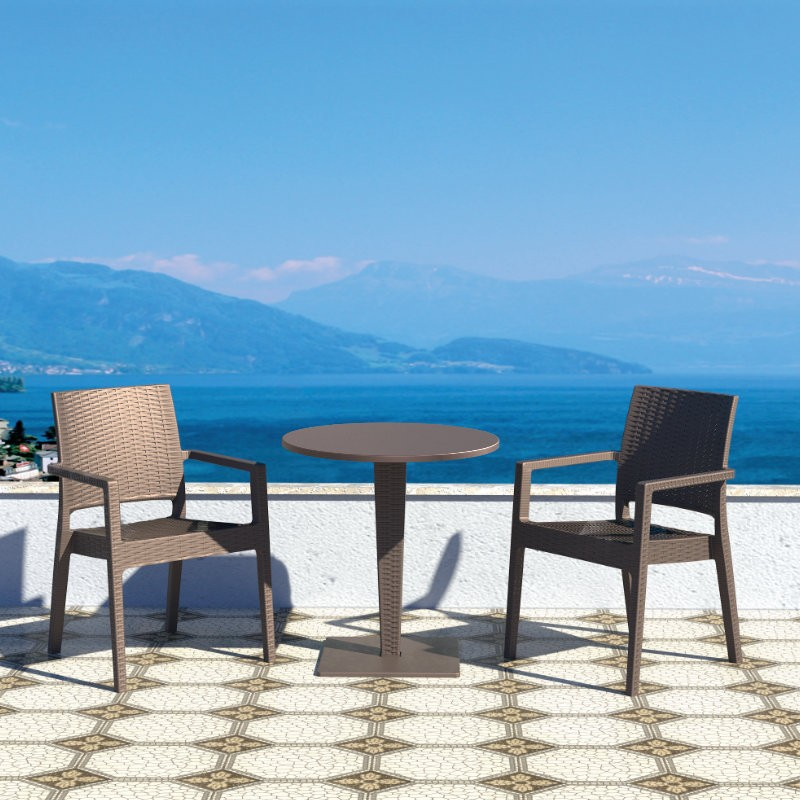 Outdoor Furniture: WickerLook: Miami Beach Collection: Ibiza Wickerlook Outdoor Resin Bistro Set Brown with Round Table 28 inch