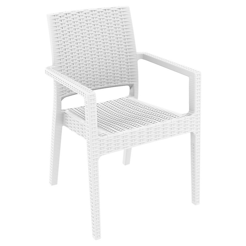 Commercial Ibiza Wickerlook Resin Arm Chair White