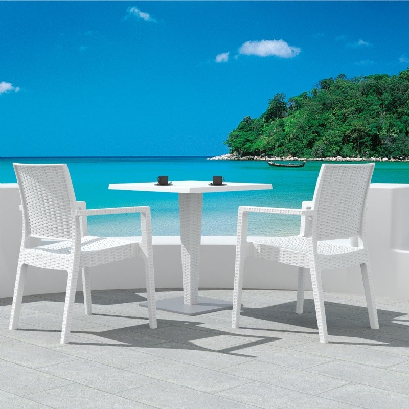 Outdoor Furniture: WickerLook: Miami Beach Collection: Ibiza Wickerlook Outdoor Resin Bistro Set White with Round Table 28 inch