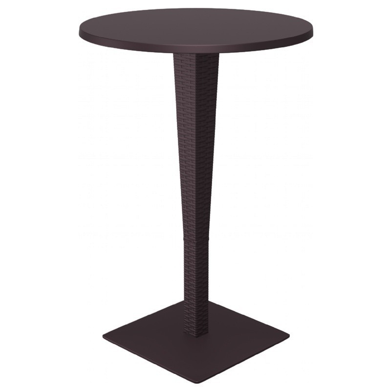 Riva Wickerlook Resin Round Bar Table Brown 28 inch.