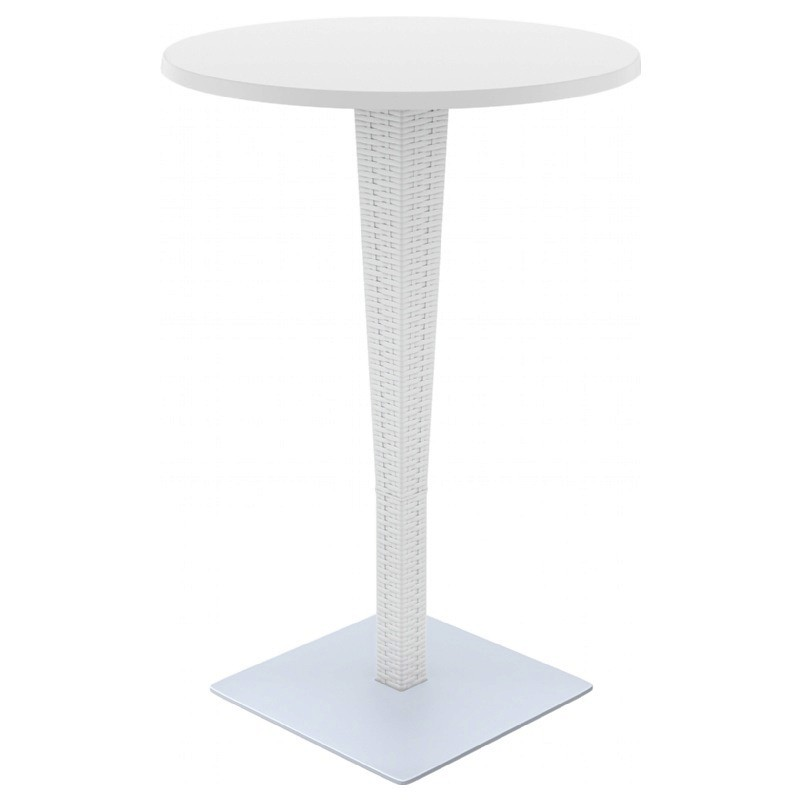 Riva Wickerlook Resin Round Bar Table White 28 inch.