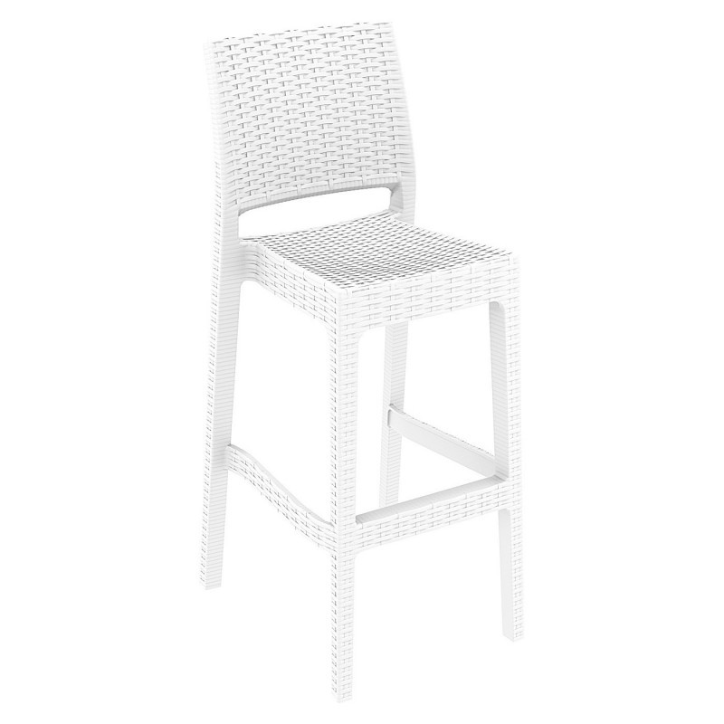 Jamaica Wickerlook Resin Bar Chair White