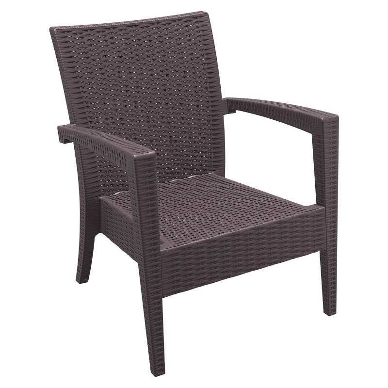 Outdoor Furniture: Club Chairs: Miami Wickerlook Resin Patio Club Chair Brown