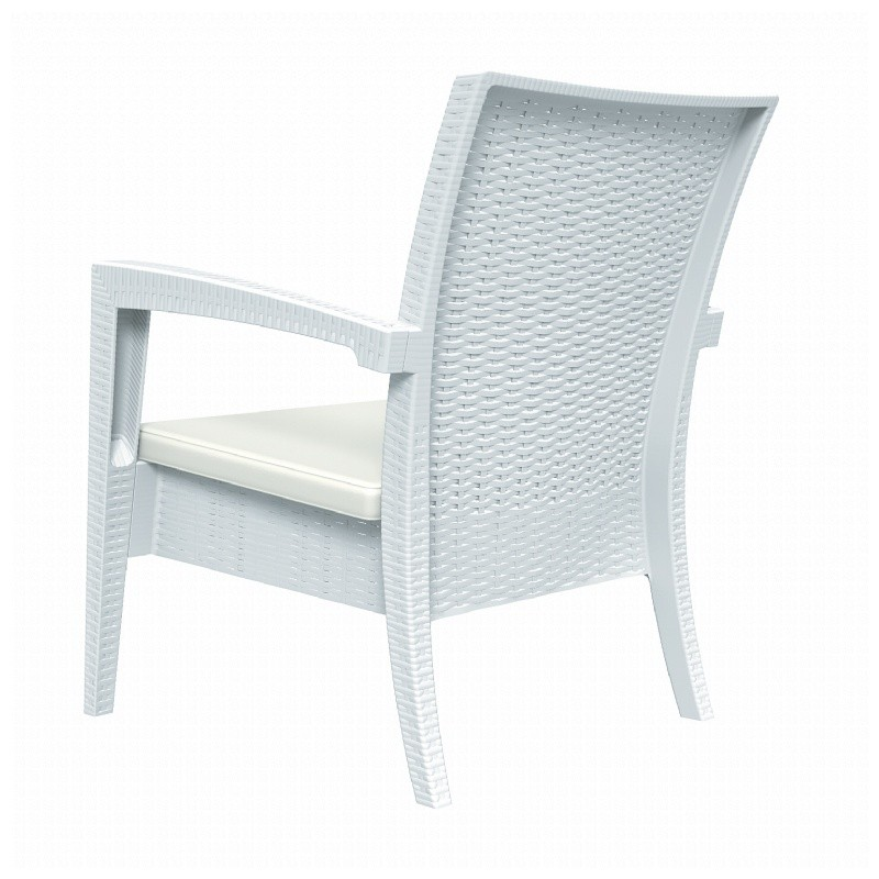 Miami Wickerlook Resin Patio Club Chair White alternative photo #3