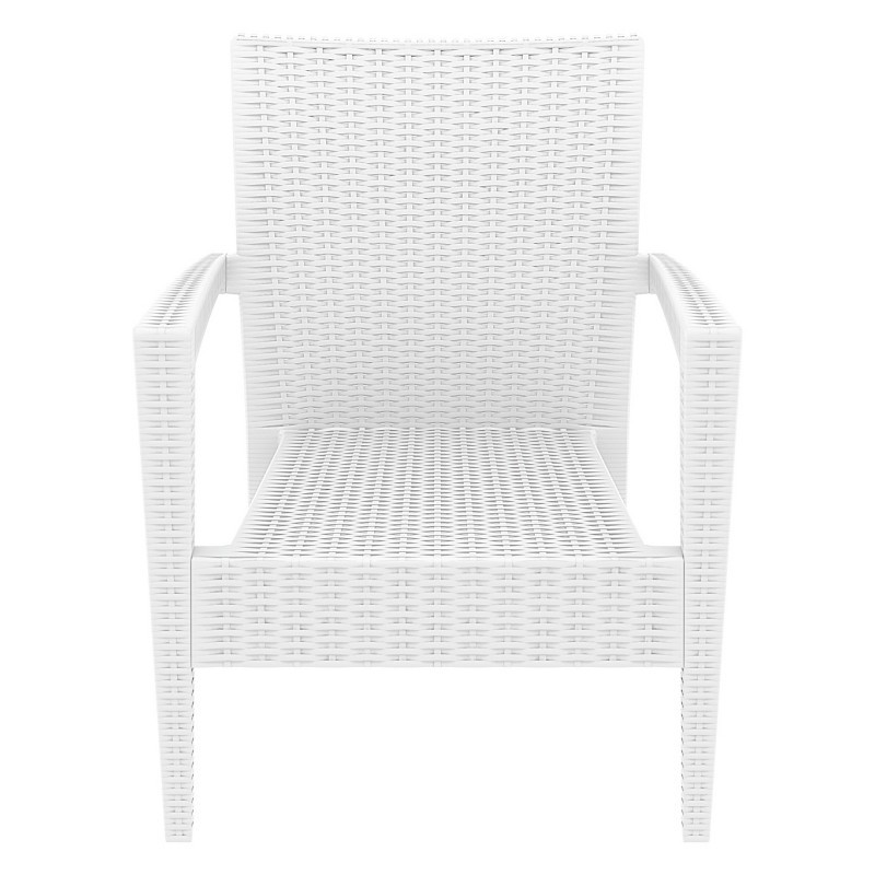 Miami Wickerlook Resin Patio Club Chair White alternative photo #4