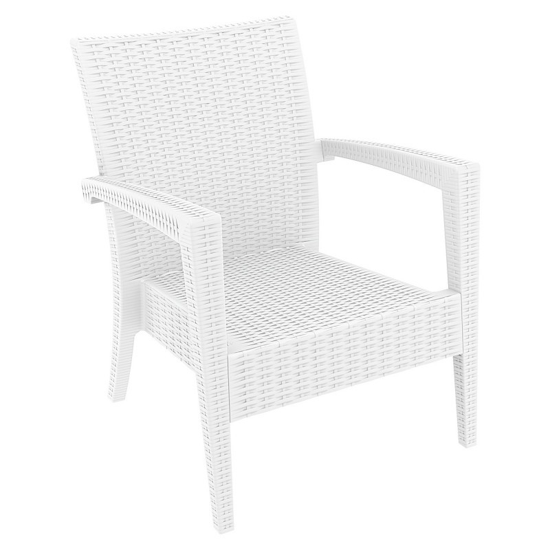 Miami Wickerlook Resin Patio Club Chair White : Patio Chairs