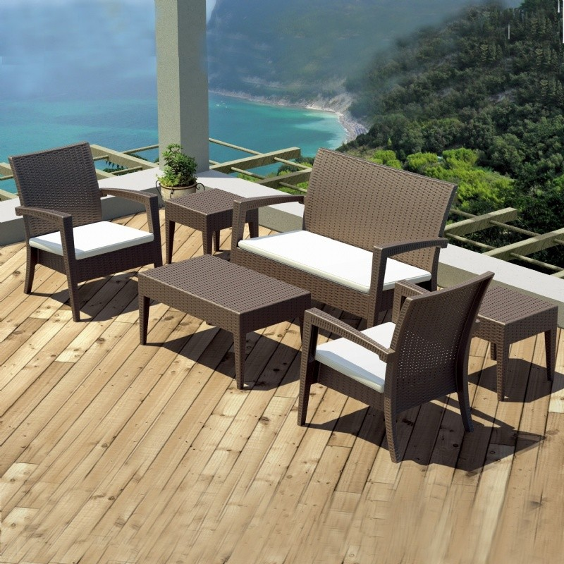 Miami Wickerlook Resin Patio Deepseating Set 6 piece Brown alternative photo #1