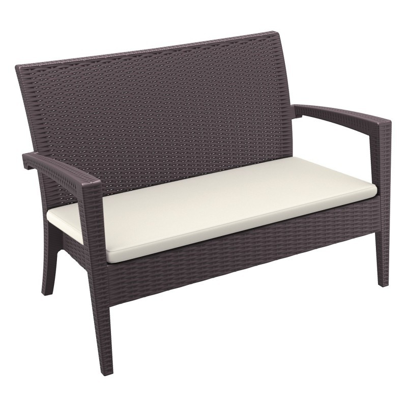 White Resin Wicker Patio Furniture on Miami Wickerlook Resin Patio Loveseat Brown Isp845 Br