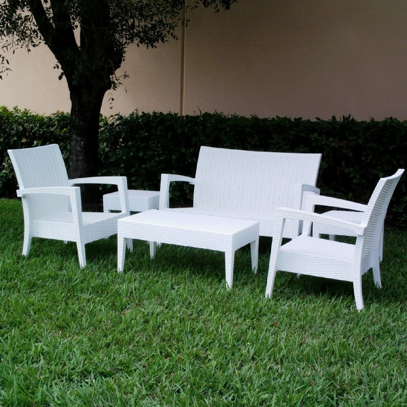 Miami Wickerlook Resin Patio Deepseating Set 6 piece White alternative photo #1