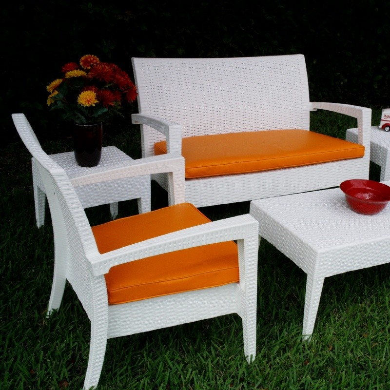 Miami Wickerlook Resin Patio Deepseating Set 6 piece White alternative photo #4